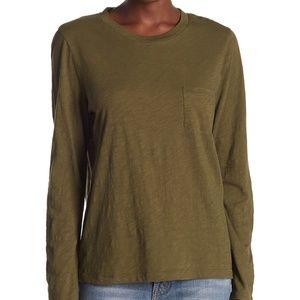 Madewell Army Green Long Sleeve Cotton Shirt
